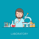 Medicine background with  nurse, medical and lab equipments Stock Photography