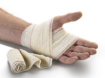 Medicine bandage on human hand Stock Photography