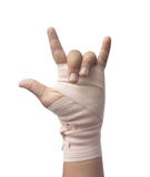 Medicine bandage on human hand love symbol. Isolated royalty free stock photos