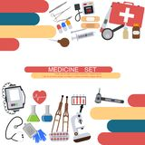Medicine banner health tools medical hospital human service operation healthy care first aid kit vector illustration