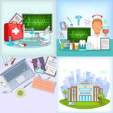 Medicine banner set, cartoon style Royalty Free Stock Image