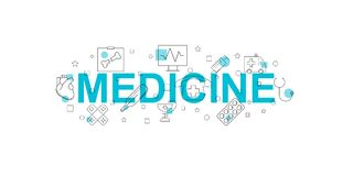Medicine  banner. Word with line icon. Vector background Stock Images