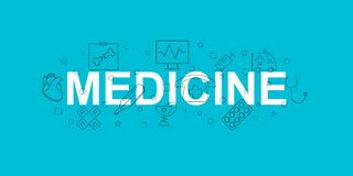 Medicine  banner. Word with line icon. Vector background. Vector illustration Stock Photos