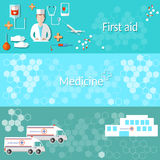 Medicine banners ambulance hospital doctor Royalty Free Stock Image