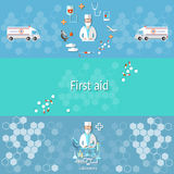 Medicine banners ambulance pharmacology doctor first aid. Medicine ambulance, pharmacology, pharmacist doctor syringes pills, medical research  syringe Royalty Free Stock Photo