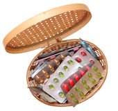 Medicine in basket Stock Photography