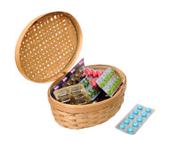 Medicine in basket Stock Photos