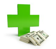 Medicine becomes more expensive. Isolated on a white background Royalty Free Stock Photography
