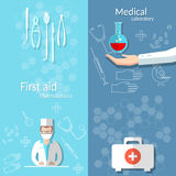 Medicine blood donation doctor hand first aid kit banners Stock Images