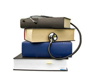 Medicine books and stethoscope Royalty Free Stock Images