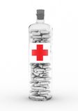 Medicine in the botle. With red cross Royalty Free Stock Photo