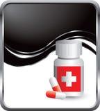 Medicine bottle on black wave background Stock Images