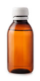 Medicine bottle of brown plastic  on white background Stock Photos