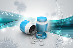 Medicine and bottle. In color background Stock Photo