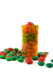 Medicine Bottle filled with Candy Royalty Free Stock Photos