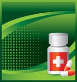 Medicine bottle on green halftone banner Royalty Free Stock Photography