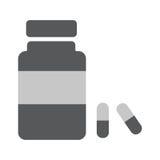 Medicine bottle Icon Vector. Medicine bottle with pills flat icon vector illustration EPS 10 Stock Photos