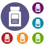 Medicine bottle icons set Stock Image