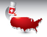 Medicine bottle over united states icon Stock Image