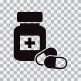 Medicine bottle and pills. Black icon. Vector illustration royalty free illustration