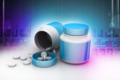 Medicine bottle and pills Stock Photo