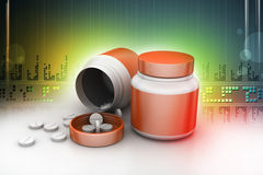 Medicine bottle and pills Stock Image