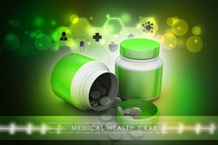 Medicine bottle and pills Royalty Free Stock Image