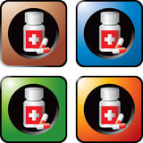 Medicine bottle with pills colored web buttons Royalty Free Stock Photos