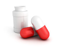 Medicine bottle and red pills on white Royalty Free Stock Photography