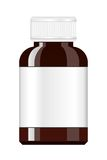 Medicine Bottle. Syrup medicine bottle. Pill Bottle with label. Stock Photo