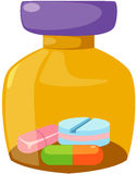 Medicine bottle and tablets Stock Image