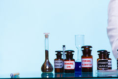 Medicine bottles as pharmacy equipment Royalty Free Stock Image