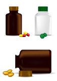 Medicine bottles, capsules and pills Royalty Free Stock Image