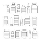 Medicine bottles collection. Bottles of drugs, tablets, capsules and sprays illustration Stock Photos