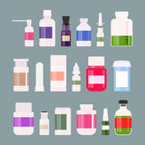 Medicine bottles collection. Bottles of drugs, tablets, capsules and sprays. Vector illustration Royalty Free Stock Images
