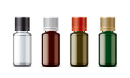 Medicine bottles mockup. Detailed illustration for your projects. lid color and bottles changes in one click in vector file Stock Images