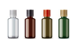 Medicine bottles mockup. Medium size. Detailed illustration for your projects. lid color and bottles changes in one click in vector file Royalty Free Stock Photos