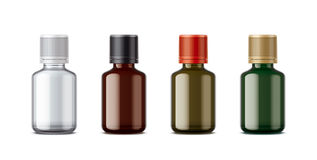 Medicine bottles mockup. Small size. Detailed illustration for your projects. lid color and bottles changes in one click in vector file Stock Photography