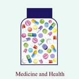 Medicine bottles. Medicine bottles over blue background vector and watercolor illustration Stock Photography