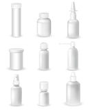 Medicine Bottles Set. Medicine blank white bottles set for sprays and pills realistic vector illustration stock illustration