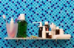 Medicine bottles on shelf Stock Photo