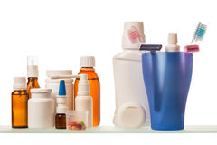 Medicine bottles on shelf Stock Image