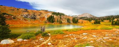Medicine Bow Lake Scenery Wyoming. Lake landscape scenery amid the mountainous Medicine Bow National Forest in Wyoming stock photography