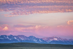 Medicine Bow Mountains at dusk. In early summer, North Park, Colorado near Cowdrey stock photography