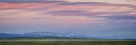 Medicine Bow Mountains panorama. Panorama of Medicine Bow Mountains at dusk in early summer, North Park, Colorado near Cowdrey stock photos
