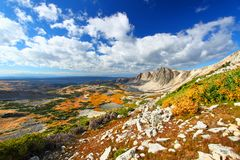 Medicine Bow National Forest Wyoming. Sunlight shines along the eastern face of Medicine Bow Peak in the national forests of Wyoming royalty free stock photography