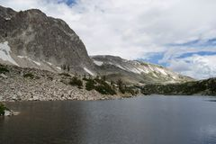 Medicine Bow Peak overlooking Mirror Lake, Snowy Range. Mountains, Rocky Mountains, Laramie, Wyoming, Medicine Bow National forest stock images