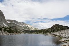 Medicine Bow Peak overlooking Mirror Lake, Snowy Range. Mountains, Rocky Mountains, Laramie, Wyoming, Medicine Bow National forest royalty free stock photography