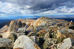 Medicine Bow Peak Wyoming. Giant boulders stacked atop the rugged summit of Medicine Bow Peak in Wyoming royalty free stock photo