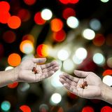 Medicine business, Hand share medicine together stock photo